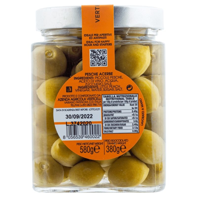 Pfirsiche Unreife Pfirsiche in Verticelli süß-sauer